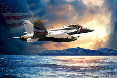 Bounty Hunter Fighter Jet, America The Beautiful Art Print by Regina Femrite