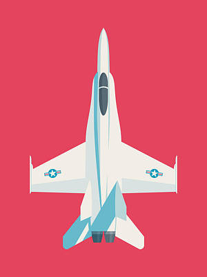 Illustration Digital Art - F-18 Hornet Jet Fighter Aircraft - Crimson by Ivan Krpan