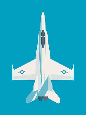 Illustration Digital Art - F-18 Hornet Jet Fighter Aircraft - Cyan by Ivan Krpan