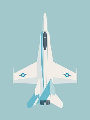 Illustration Digital Art - F-18 Hornet Jet Fighter Aircraft - Sky by Ivan Krpan
