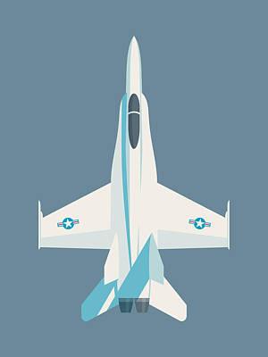 Illustration Digital Art - F-18 Hornet Jet Fighter Aircraft - Slate by Ivan Krpan