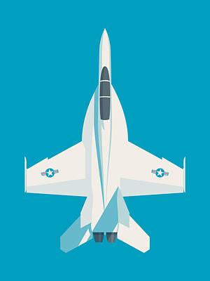 Illustration Digital Art - F-18 Super Hornet Jet Fighter Aircraft - Cyan by Ivan Krpan