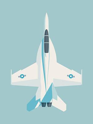 Illustration Digital Art - F-18 Super Hornet Jet Fighter Aircraft - Sky by Ivan Krpan
