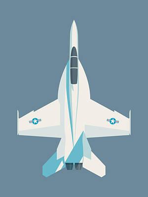 Illustration Digital Art - F-18 Super Hornet Jet Fighter Aircraft - Slate by Ivan Krpan