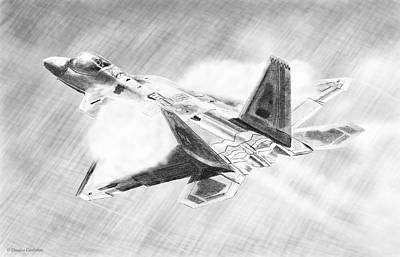 Drawing - F-22a Raptor Drawing by Douglas Castleman