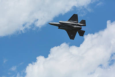 Clouds Royalty Free Images - F-35 Fighter Jet Airplane 10 Royalty-Free Image by John Brueske