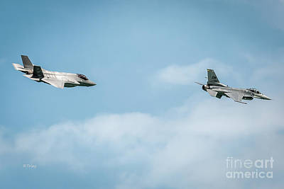 Photograph - F-35 Lightning Formation With A General Dynamics F-16 by Rene Triay Photography