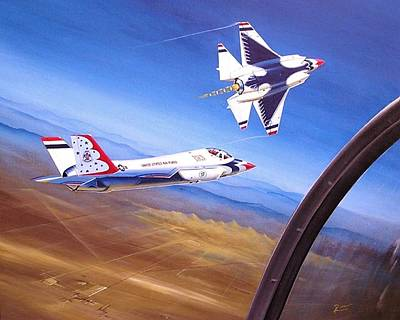 Retro Wall Art - Painting - F-35a Thunderbirds by Peter Ring Sr