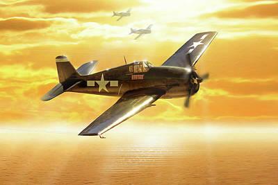 F-6f Hellcat Pacific Sunrise Art Print