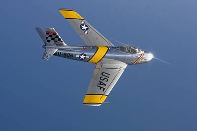 Photograph - F-86 Sabre Over Lake Michigan by Liza Eckardt