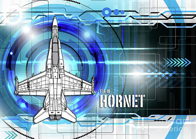 F-18 Digital Art - F/a-18 Hornet by J Biggadike