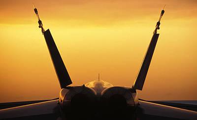 Photograph - F-18 Hornet Sunset by John Clark