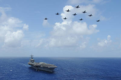 Dwight D. Eisenhower Painting - F-a-18c Hornets Fly Over The Aircraft Carrier Uss Dwight D. Eisenhower by Celestial Images