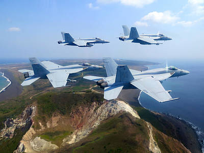 Training Mixed Media - F A-18e Super Hornets  by Celestial Images
