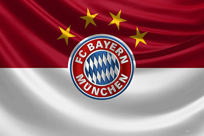 F C Bayern Munich - 3 D Badge Over Flag Art Print by Serge Averbukh