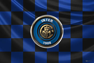 Digital Art - F. C. Inter Milan - 3 D Badge Over Flag by Serge Averbukh