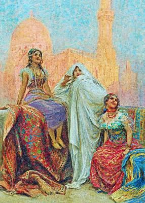 Painting - F Fabin Three Women by Munir Alawi