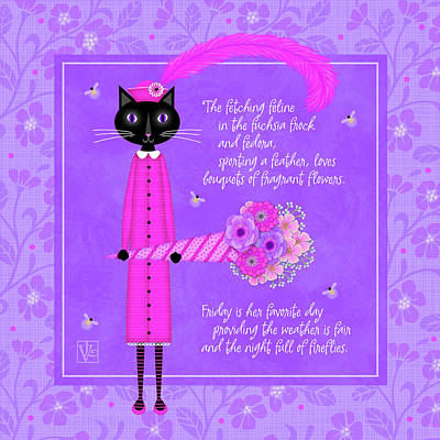 F Is For Fetching Feline And Flowers Art Print by Valerie Drake Lesiak