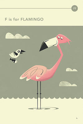 F Is For Flamingo Art Print