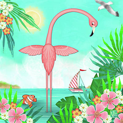 Digital Art - F Is For Flamingo by Valerie Drake Lesiak