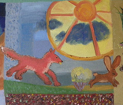 Painting - F Is For Fox Detail From Childhood Quilt Painting by Dawn Senior-Trask