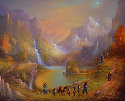 Tolkien Painting - The Fellowship Breaking Camp by Joe Gilronan