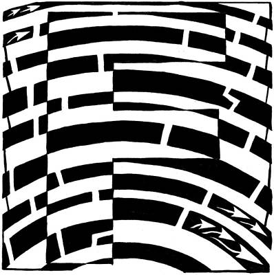 Alphabet Mazes Drawing - F Maze by Yonatan Frimer Maze Artist