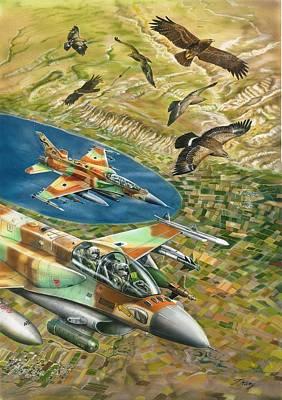 f- sixteen sufa and eagles over Jordan Valley Original by Tuvia Kurz