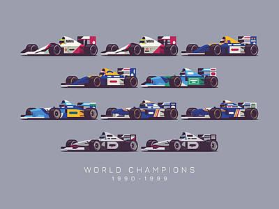 Benetton Wall Art - Digital Art - F1 World Champions 1990s - Dark Grey by Ivan Krpan