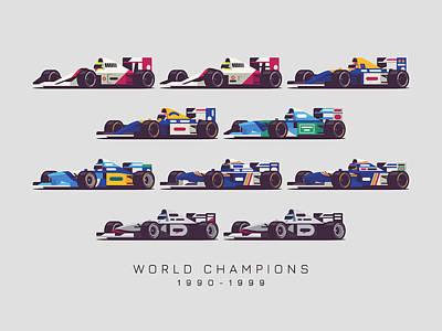 Benetton Wall Art - Digital Art - F1 World Champions 1990s - Light Grey by Ivan Krpan