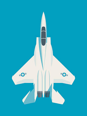F15 Wall Art - Digital Art - F15 Eagle Fighter Jet Aircraft - Blue by Ivan Krpan