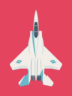 F15 Wall Art - Digital Art - F15 Eagle Fighter Jet Aircraft - Crimson by Ivan Krpan