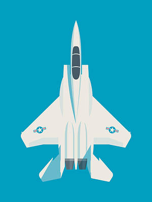Air Force Poster Digital Art - F15 Eagle Us Air Force Fighter Jet Aircraft - Blue by Ivan Krpan