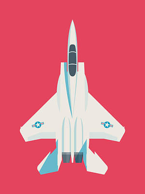 Air Force Poster Digital Art - F15 Eagle Us Air Force Fighter Jet Aircraft - Crimson by Ivan Krpan