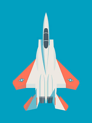 Air Force Poster Digital Art - F15 Eagle Us Air Force Fighter Jet Aircraft - Test Blue by Ivan Krpan