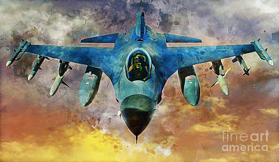 Jet Mixed Media - F16 Falcon by Ian Mitchell