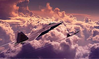 Digital Art - F22 Raptor Aviation Art by John Wills