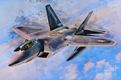Jet Mixed Media - F22 Raptor by Ian Mitchell