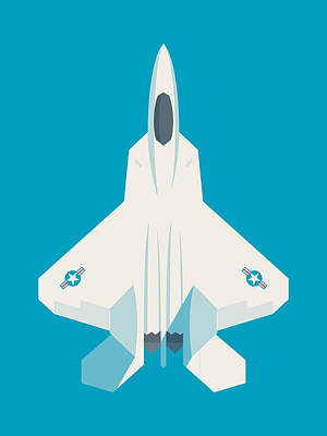 Raptor Wall Art - Digital Art - F22 Raptor Jet Fighter Aircraft - Cyan by Ivan Krpan