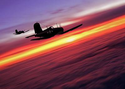 Digital Art - F4u Corsairs In Flight by John Wills