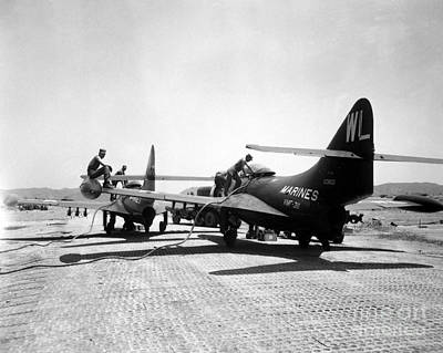F9f Panther Jets Being Refueled Print by Stocktrek Images