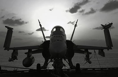 F A-18 Super Hornet On Carrier Print by Daniel Hagerman