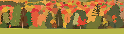 Wall Art - Painting - Fall Forest by Marian Federspiel