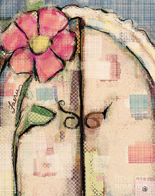 Country Cottage Mixed Media - Fabric Fairy Door by Carrie Joy Byrnes