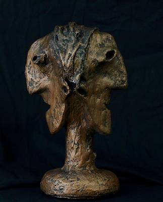 Primitive Mixed Media - Fabulas Janus Bust  by Mark M  Mellon