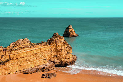 Photograph - Fabulous Dona Ana Beach In Lagos Portugal In Teal And Orange by Georgia Mizuleva
