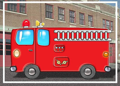 Education Painting - Fabulous Fire Truck And Station by Elaine Plesser