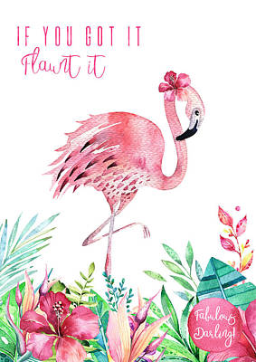 Wall Art - Mixed Media - Fabulous Flamingo - Flaunt It by Amanda Lakey