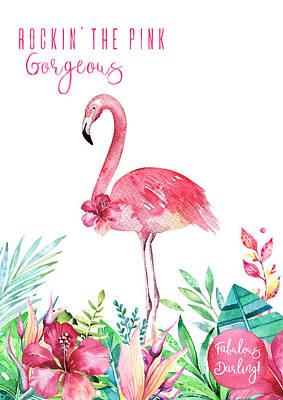 Wall Art - Painting - Fabulous Flamingo - Rockin' The Pink by Amanda Lakey
