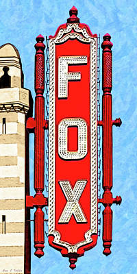 Red Fox Mixed Media - Fabulous Fox Marquee - Atlanta by Mark Tisdale